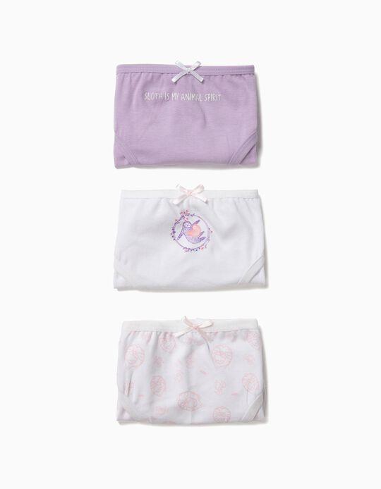 Pack 3 Cuecas para Menina 'Sloth', Lilás e Branco
