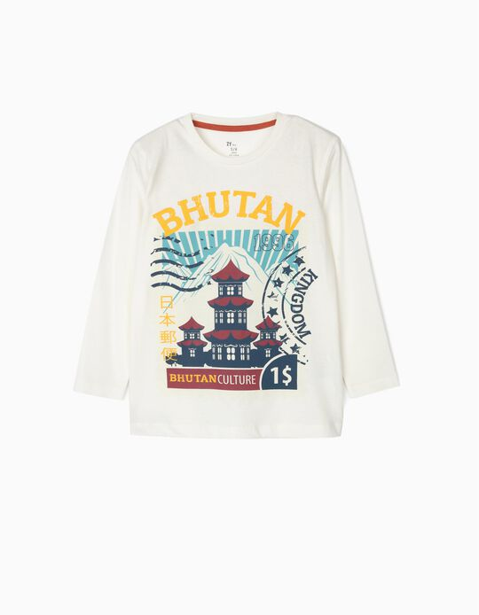 Long-sleeve Top for Boys 'Bhutan', White