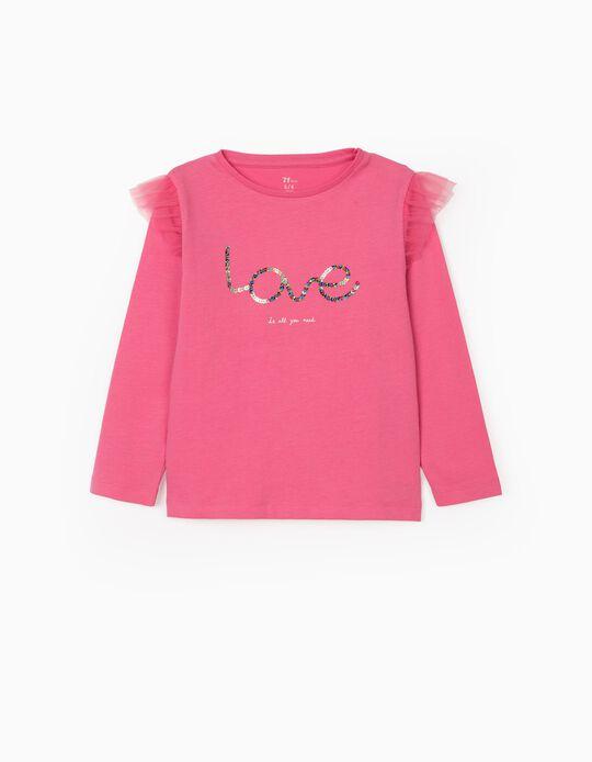 Long Sleeve T-Shirt for Girls 'Love', Pink