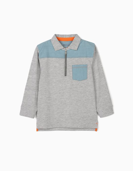 Long Sleeve Polo Shirt, Denim