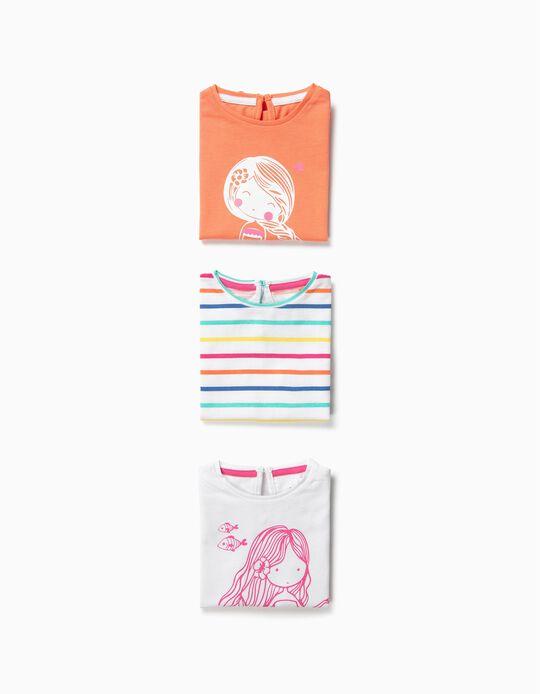 3 T-shirts para Bebé Menina 'Mermaid', Multicolor