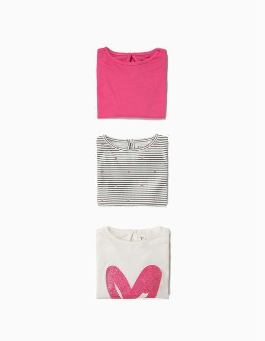 3 T-shirts Manga Comprida para Bebé Menina 'Love', Rosa