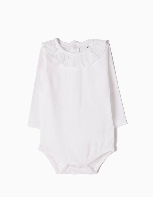 Long-Sleeved Bodysuit for Newborn, White