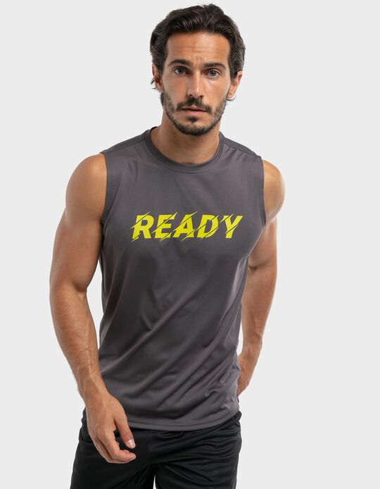 Sleeveless t-shirt with breathable panel