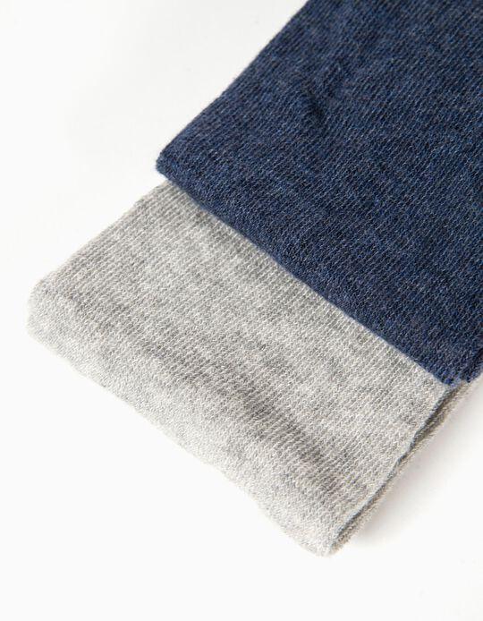 2 Collants de Malha para Menina, Cinza e Azul