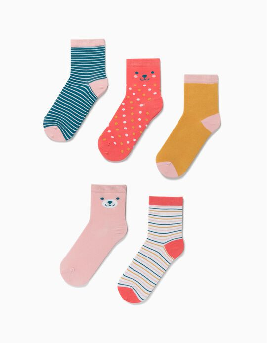 5 Pairs of Socks for Girls, 'Dots & Stripes', Multicoloured