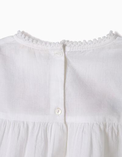 Blusa Fluida Branca com Bordados