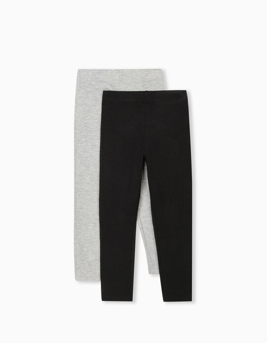 2 Leggings, Girls, Grey/ Black