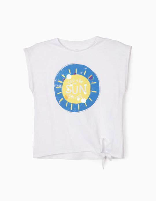 T-shirt for Girls, 'Sunshine', White