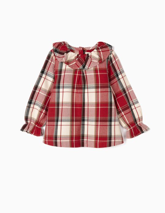 Check Blouse for Baby Girls 'B&S', Red/White