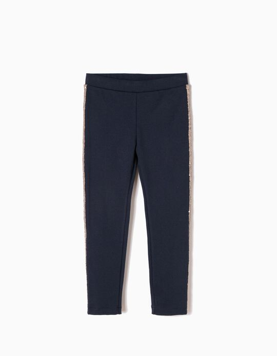 Blue Jersey Knit Fabric Trousers with Sequins