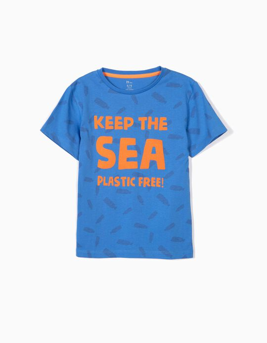 T-shirt for Boys 'Plastic Free', Blue