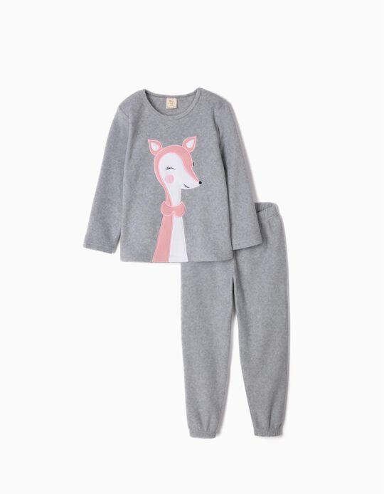 Polar Fleece Pyjamas for Girls 'Cute Deer', Grey