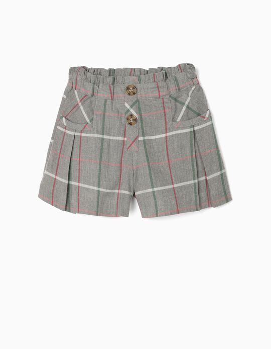Chequered Shorts for Girls, Grey