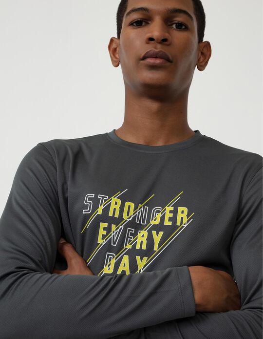 Long Sleeve Techno Top for Men, Grey