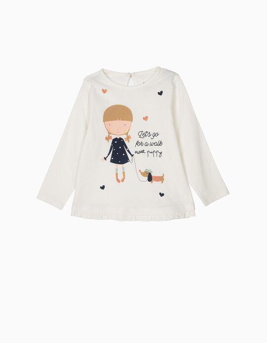 T-shirt Manga Comprida para Bebé Menina 'Sweet Puppy', Branco