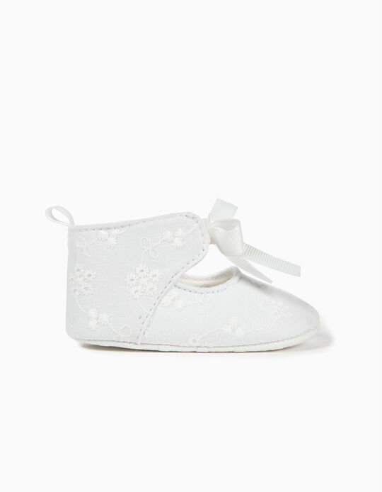 Sapatos para Recém-Nascida Bordado Inglês, Branco