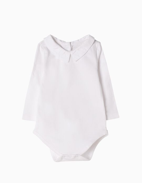 Long-Sleeved Bodysuit, White