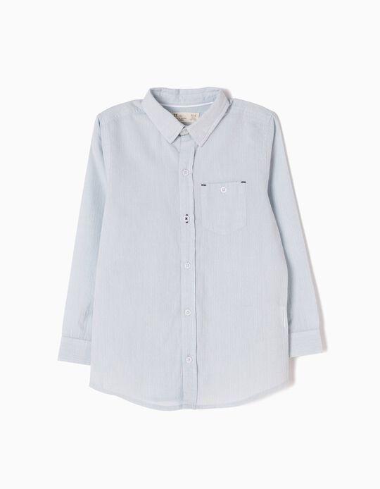 Camisa com Textura Azul