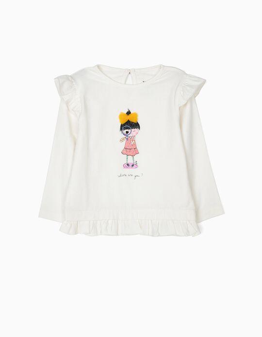 T-shirt de Manga Comprida para Bebé Menina com Folhos, Branca