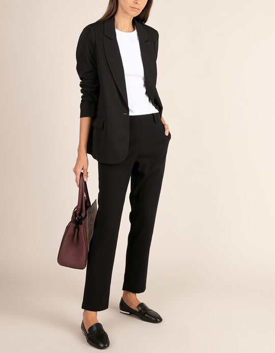 Plain tailored fit trousers