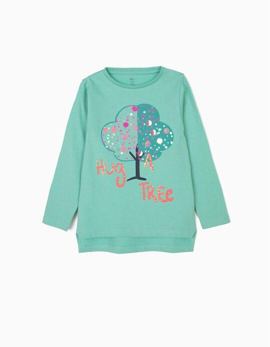 T-shirt Manga Comprida para Menina '#Be More Human', Cinza