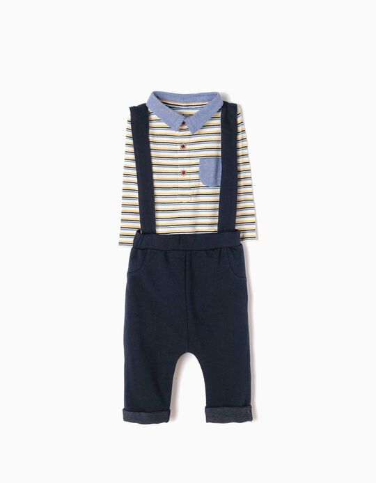 Trousers with Straps & Striped Bodysuit Outfit