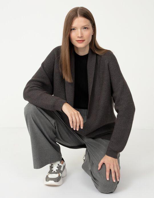 Textured Cardigan, Women, Grey