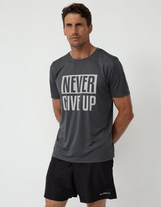 T-shirt Desporto Painel Respirável, Homem, Cinza