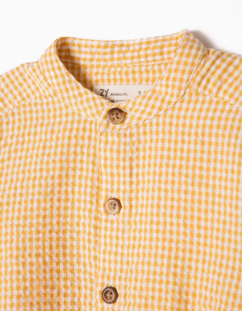 Body-Camisa Xadrez Amarelo