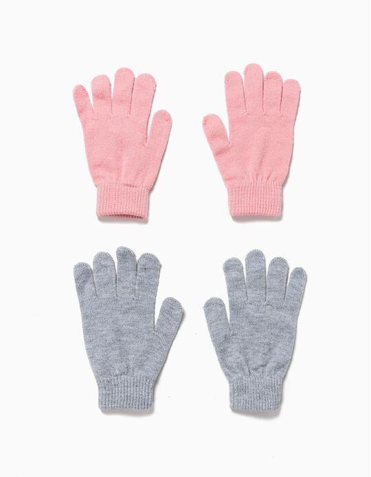 Pack 2 pares de luvas cinza e rosa