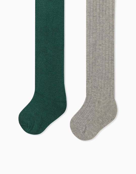 2 Knit Tights for Baby Girls, Grey/Green