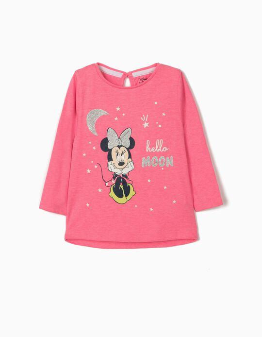 T-shirt Manga Comprida para Bebé Menina 'Minnie Moon', Rosa