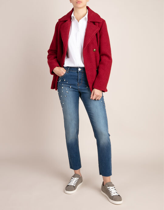 Cropped crossover coat with buttons
