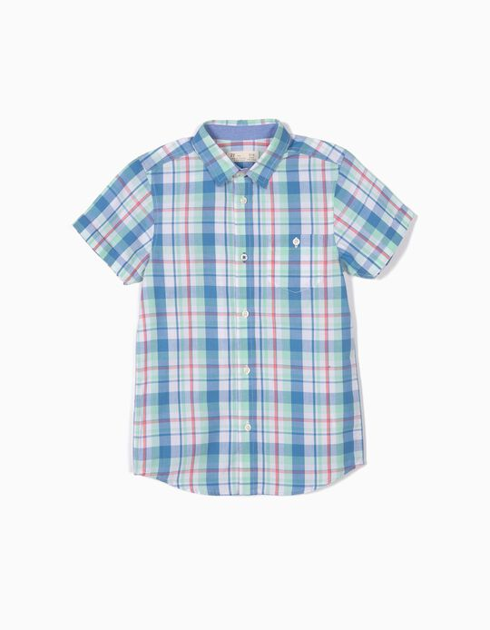 Camisa para Menino Xadrez, Verde e Azul