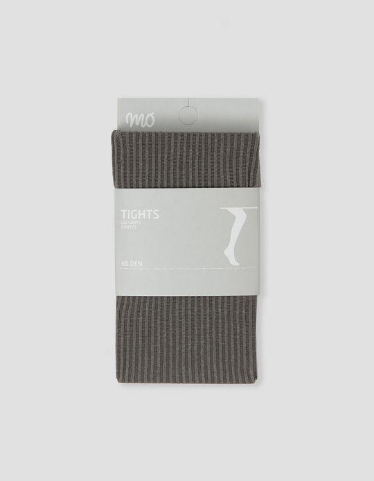 Rib Knit Tights, Women, Grey
