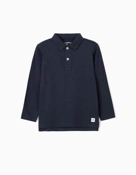 Long-Sleeved Polo Shirt for Boys, Dark Blue