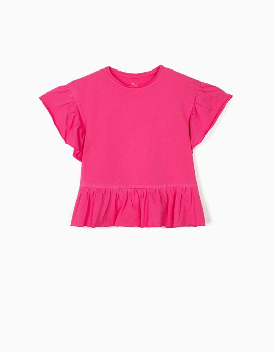 T-shirt with Ruffles for Girls, Pink
