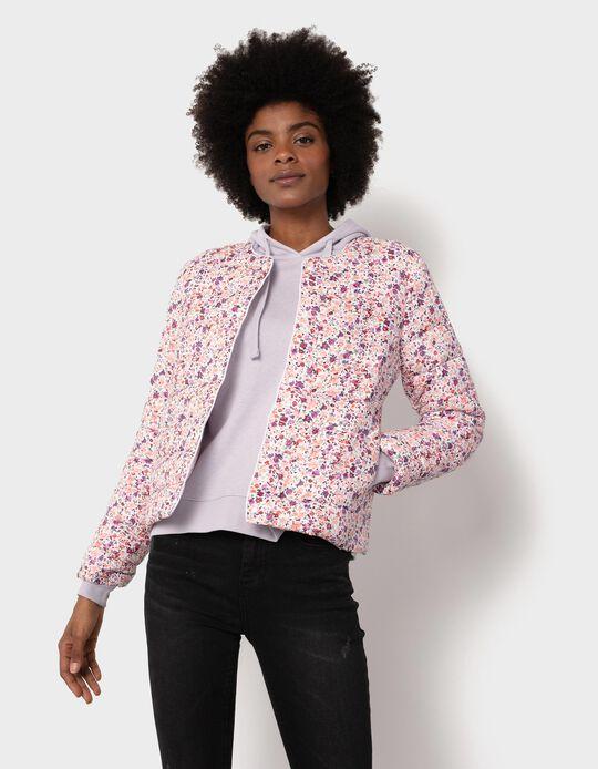 Blusão Acolchoado, Mulher, Branco/ Rosa