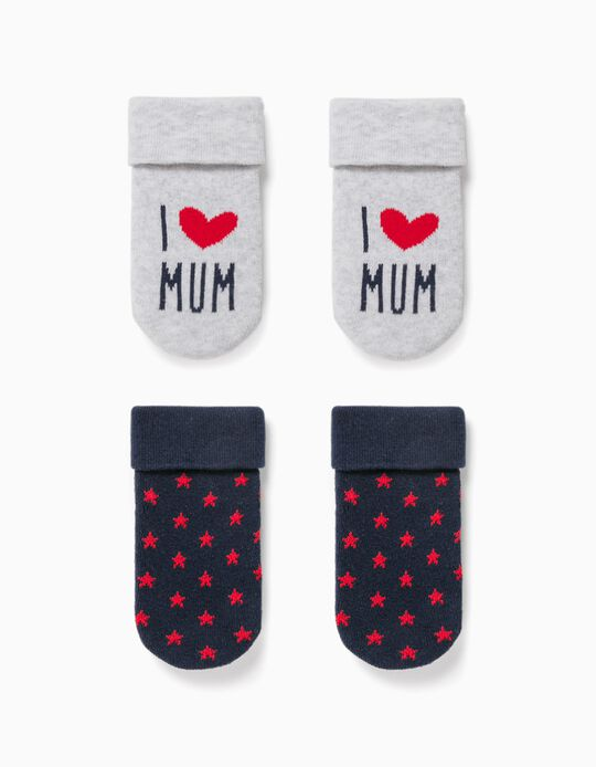 2 Pairs of Socks for Baby Boys, 'Mum', Grey/Blue/Red
