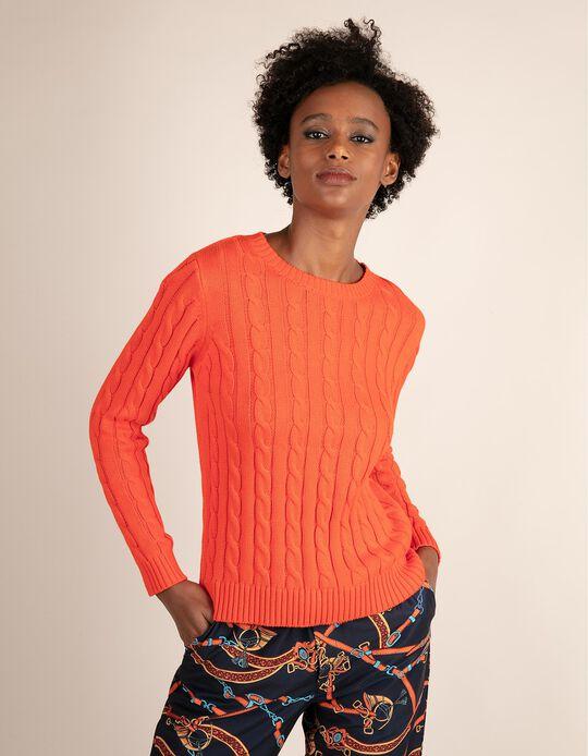Malha com tricotado entraçado