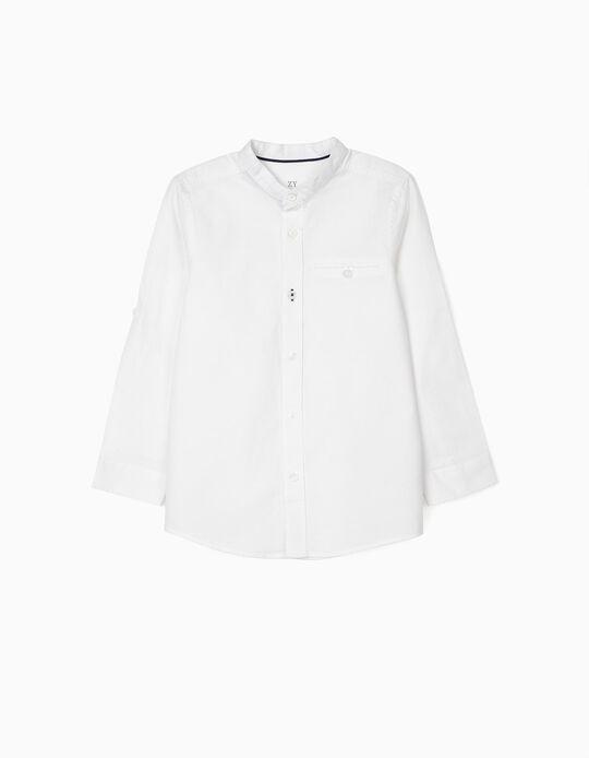 Camisa com Gola Mao para Menino, Branco