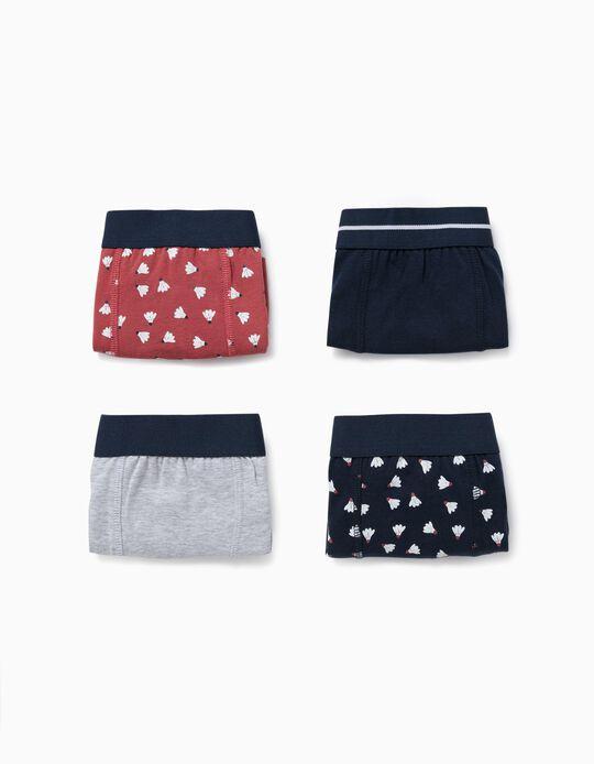 4 Boxer Shorts for Boys, 'Badminton', Grey/Blue/Terracotta