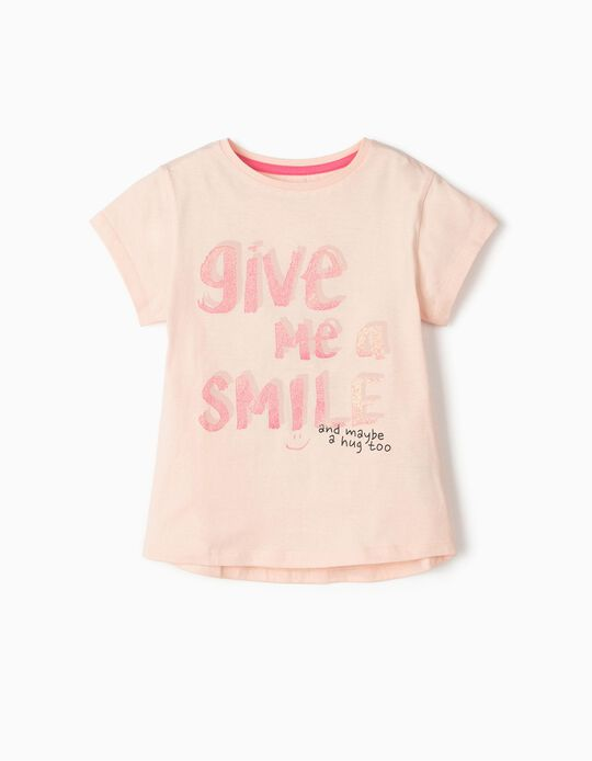 T-Shirt for Girls 'Smile', Pink