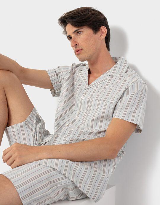 Pijama de Algodão Riscas, Homem, Bege