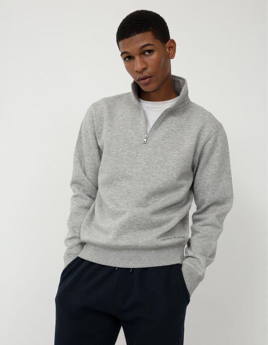 Sweatshirt with Zip on the Neck, Men, Grey