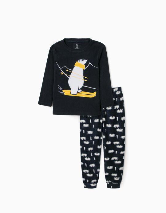 Pijama Polar para Menino 'Ski', Azul Escuro