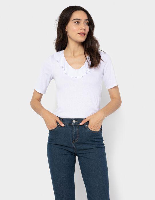 T-shirt with Ruffle, White