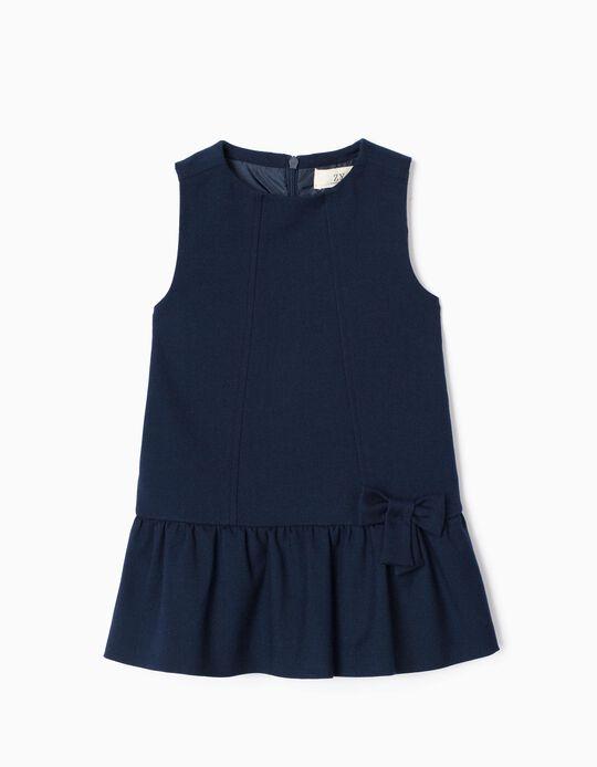 Vestido de Sarja para Bebé Menina 'B&S', Azul Escuro