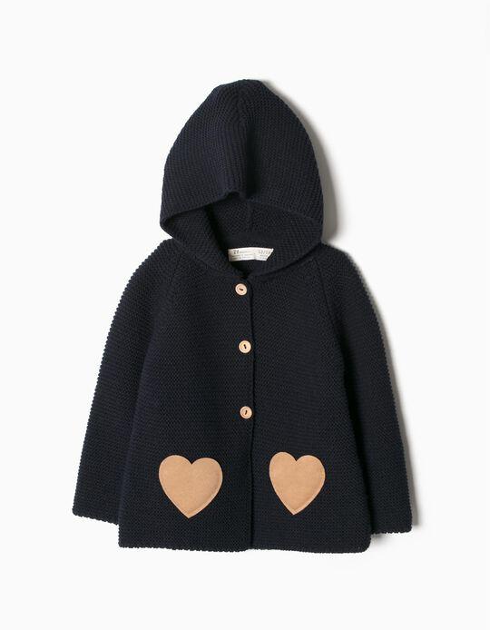 Casaco Malha bolsos coração